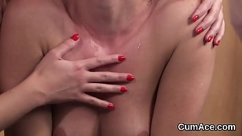 Sexy honey gets sperm shot on her face swallowing all the spunk
