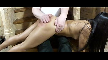 Spank f f Red ass - spanking home on the stairs