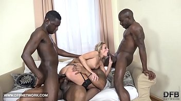 Triple penetration interracial Hardcore gangbang double anal double penetration interracial cumshot facial