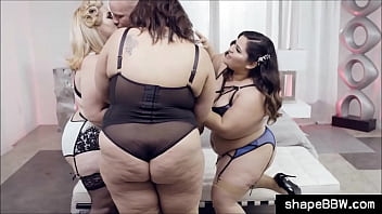 Three BBWs and one lucky guy orgy thumbnail