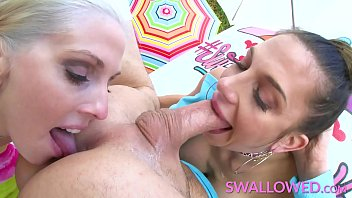 SWALLOWED Two stunning busty milfs gagging on a hard cock