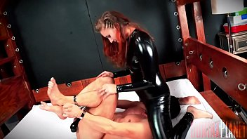 Fuck Face - Stephie Staar has a slave hog tied and helpless. She unzips Her crotch and starts riding his face HARD, bouncing up and down and s. him for Her pleasure.