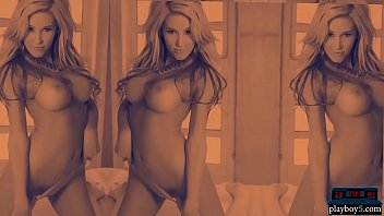 Two hot blonde Playboy models strip completely naked