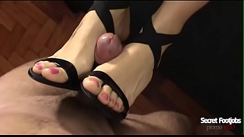 Heels footjob Andrea tied my dick in her high heel and gave a perfect footjob huge cumshot on your feet