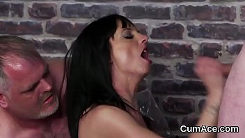 Sticky hand job Spicy model gets cum shot on her face sucking all the spunk