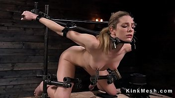 Immobile fetish Slave in device bondage with exposed ass