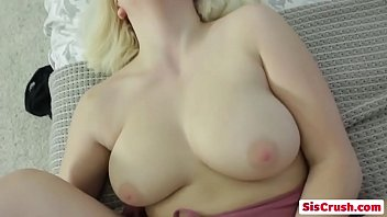 Petite blonde step-sister Velvet Rain bends over and gets fucked