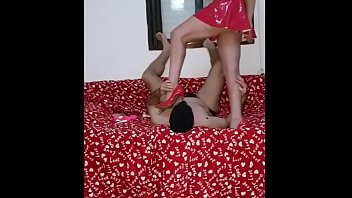 HM7 002 0434 Katya latex miniskirt facesit smother and trampling her slave with her sharp stiletto high heels