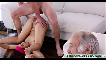 Cute Young Petite Brunette Stepsister Brooke Haze Fucked By Stepbrother During Scary Movie While Their Grandpa Naps