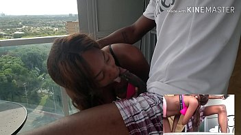 Jamaican girl gives blowjob on balcony  (must watch) ***cumshot***
