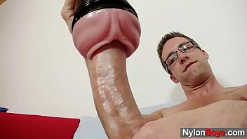 Gay pantyhose porn - Solo gay rick cums on his nylon tights