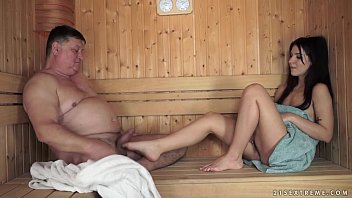 Old man fucks Bella Beretta in the sauna
