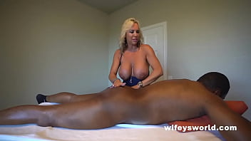 Busty Blonde MILF Sucks And Strokes BBC And Swallows Every Drop
