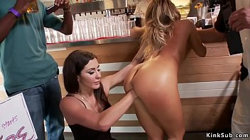 Blonde squirter fisted in public