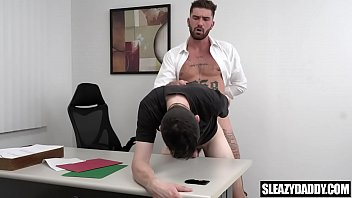 Father and son sex in the office