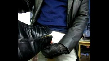 Leather jacket for teen Jerking off with leather gloves onto black florsheim boot