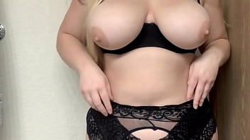 My fat French BBW sister shows off undressing with her big tits