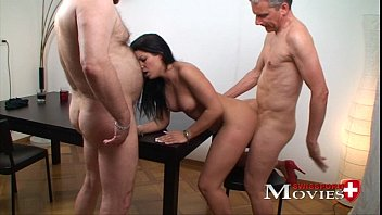 Sex hungry waitres girl Amanda Jane is using 2 guest dicks