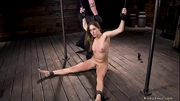 Bound and spreaded wife sub whipped