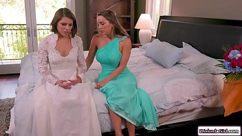 Sexy bride squirting on her bridesmaids pretty facesit