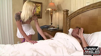 EVASIVE ANGLES Faye walks in on her stepdad to show him her sexy cheerleader outfit but he took it as a request for sex and pulls off her panties to slide his hard rod into her wet pussy