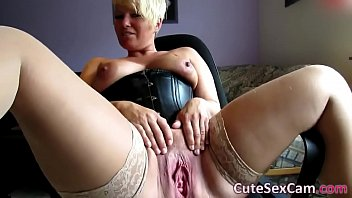 Ass spread and spanked free video Short haired blonde milf spreading and masturbating pussy on webcam