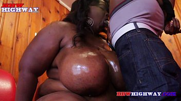 black bbw with monster boobs sucking a cock 6 min