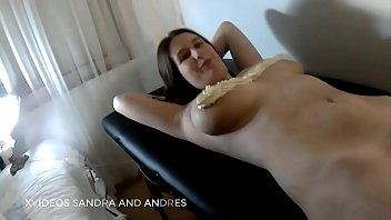 Sandra gets a cream bath on her tits and her pussy is sucked and I eat her whole pussy and I just fuck her hard on the couch