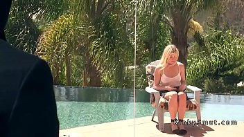 Blackmailed blonde wife anal fucked in bondage