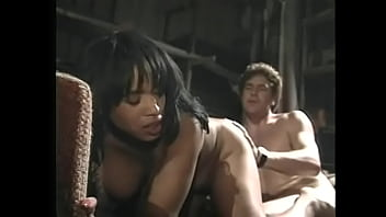 Horny white dude ass fucks sexy ebony whore and cum on her big tits