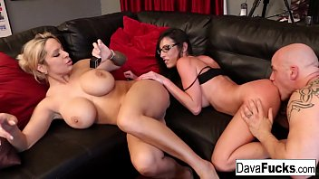Energetic threesome concludes with a creampie