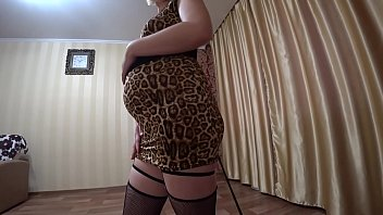 Russian tit slapping Lesbian with a whip undresses and fucks a pregnant mil with a juicy ass, light domination pov.