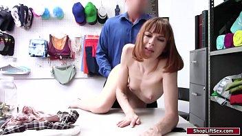 Redhead ass fucked by a security officer