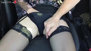 Girl Sensual Play Pussy in Taxi on the Passenger Seat