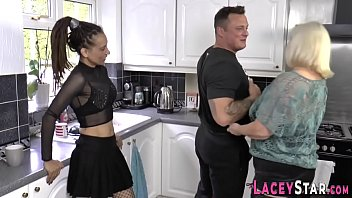 Granny and ebony milf ride face and cock