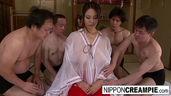 Japanese girl with huge cans takes on 4 cocks
