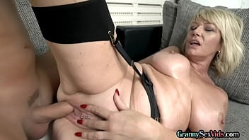 Lingerie gilf fucked before cum over saggy tits