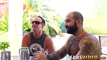 Hairy bearded bear makes his mature friend ride his big cock