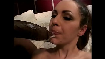 Hot brunette babe with an amazing body takes a big black cock, hot facial