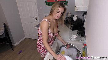Beautiful big boobs blonde washing dishes nicely
