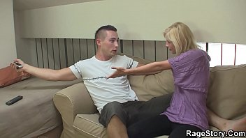 Angry dude young blonde wife to rough sex