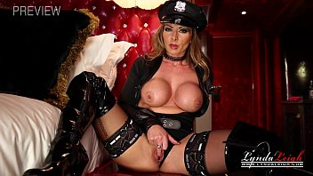 Shaved eyebrows off British milf dressed as a police officer jerk off instruction while wanking her