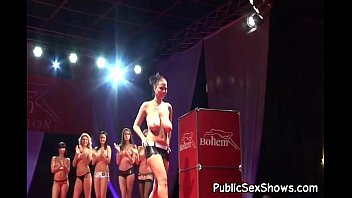 Shoreline bikini contest Hot strippers walking in sexy lingerie