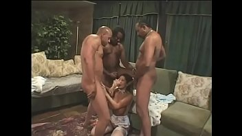 Exotic asian slut with big boobs and in sexy lingerie Ava Devine gets fucked in asshole and pussy by three strong black cocks