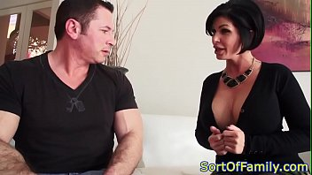 Stockinged stepmom doggystyled in taboo trio