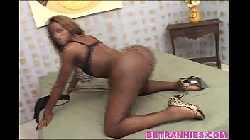 Ebony tranny taking it up ass Black shemale beauty ass fucked