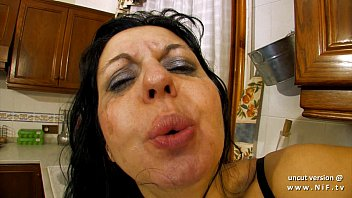 Old women nude pix - Horny french milf sodomized and double plugged with vegetables in the kitchen