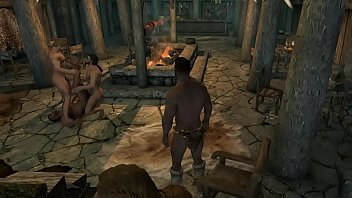 Gay party game Skyrim - machos na taverna