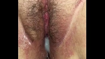 Wifes cream filled pussy Hairy creampie