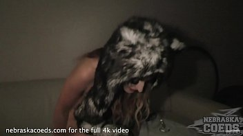 late night party girl anusha jilling herself off in furry costume